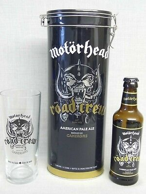 Motorhead Road Crew Collectable Etched Beer Glass Tin & Empty Cameron Ale Bottle