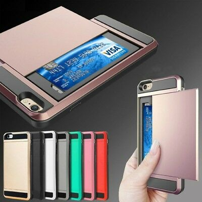 For Apple iPhone 5S 5C 6 7 8 Plus SE X Card Holder Shockproof Wallet Case Cover