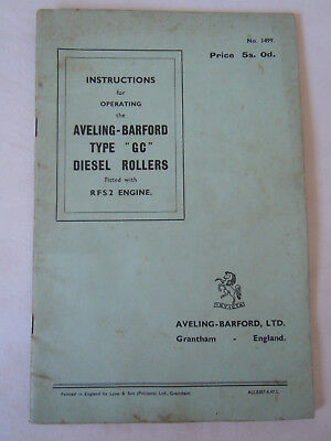 "@Vintage Aveling-Barford ""GC"" Diesel Rollers Instruction Book@"