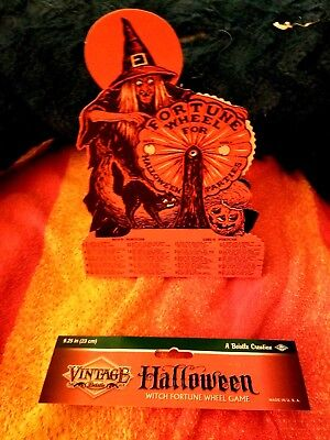 1 Vintage-Series-Beistle Halloween Witch-Fortune Wheel Game-1927 Reproduction-