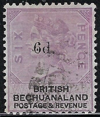"""Bechuanaland  1888  Scts #24, S/G #26,  """"Black Surcharge""""  Used,  6p x 6p Lilac"""