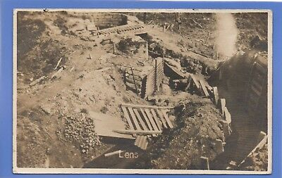 Rare 26.08.1919 Ww1 War Torn Trenches At Lens Germany Rp Photo Postcard From Pa