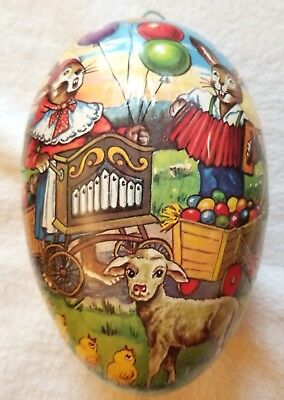 Rabbit Carnival, selling Easter Eggs. Large Papier-mache Egg Candy Container GDR