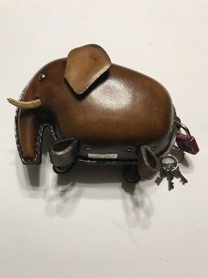 Kounoike Vintage Leather Elephant Piggy Bank Original Label Lock 3 Keys Complete