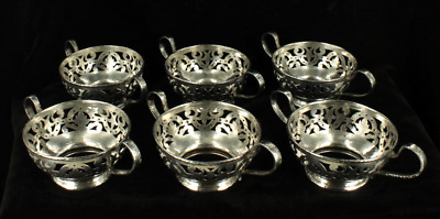 Antique Set of 6 Gorham Sterling Hand Hammered Reticulated Bouillons Dessert Cup