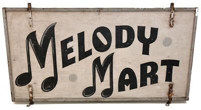 Antique Wood Sign Melody Mart Music Instrument Shop Folk Art Advertising Painted