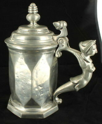 Vintage Monumental Pedraza Spain Pewter Figural Handled Beer Stein Collectible