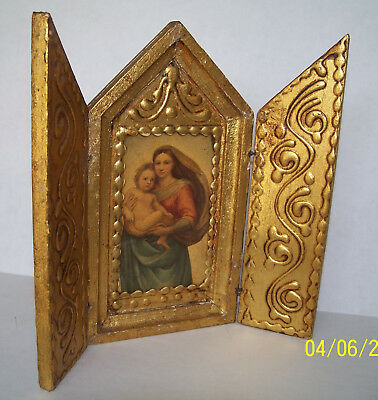 Vintage Florentine Gold Gilt Triptych Madonna And Child Altarpiece Made In Italy