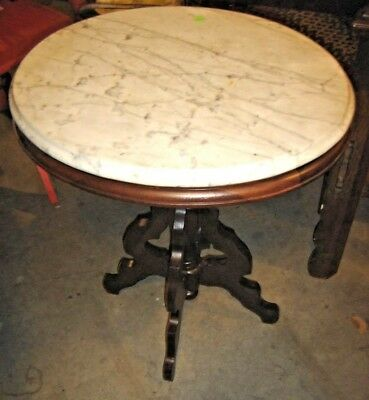 Antique Victorian Oval Walnut Marble Top Stand Table. 8259