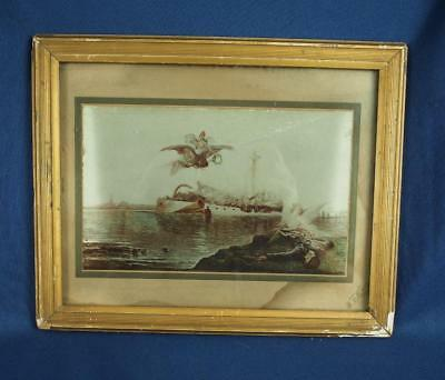 "Antique ""THE VISION OF A MARTYR OF THE MAINE"" USS Art Photograph Angel"