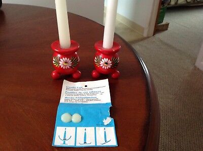 Vintage Wooden Swedish Red Candle Stick Holders~Handpainted Flowers~Free Wax~VG!