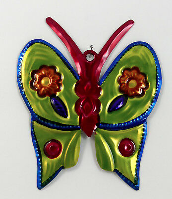 Butterfly Hand-Punched Tin Ornament Colorful Mexican Folk Art