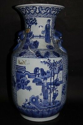 Large Old Chinese Vase With Remains Of Old Label - Mask Handles - Very Rare L@@k
