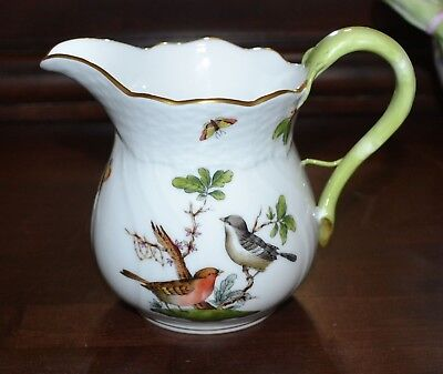 """HEREND HUNGARY ROTHSCHILD #1641 4.5"""" Tall Pitcher Creamer - GOLD - Excellent"""