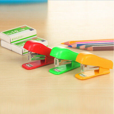 1PC Office Student School Home Mini Cartoon Paper Document Stapler With Staples
