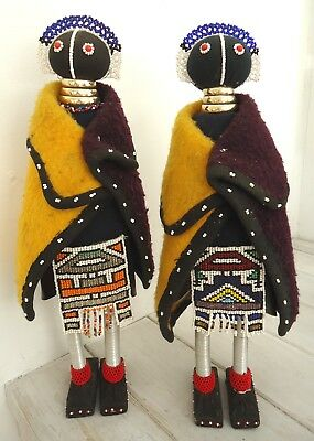 """2 x LARGE AFRICAN """"NDEBELE"""" DOLLS * each Stand 46cm (18"""") Tall * PERFECT!!"""