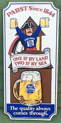 Vintage Pabst Blue Ribbon PBR Beer Wood Advertising Sign One Land Two By Sea