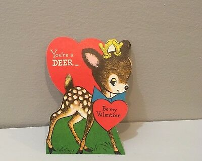 Vtg Valentine Card Spotted Fawn Baby Deer Word Play 50's 60's Unused