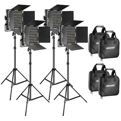 Neewer 4 Pack Dimmable Bi-color 660 LED Video Light with Light Stand Kit