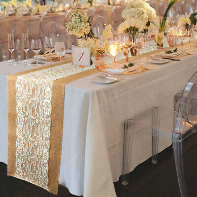 10×Vintage Hessian Lace Table Runners Burlap Jute Lace Rustic Wedding Tablecloth