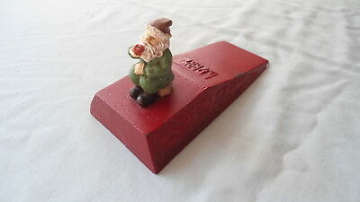 Vintage Cast Iron Decorative Door Wedge Showing A Gnome Door Stop