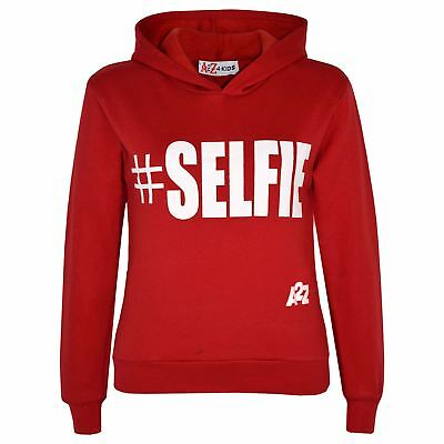 Kids Boys Girls Sweat Shirts Tops Red #Selfie Hooded Jumpers Hoodies Age 5-13 Yr