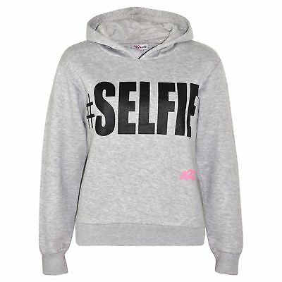 Kids Boys Girls Sweat Shirt Tops Grey #Selfie Hooded Jumpers Hoodies Age 5-13 Yr