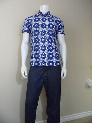 98b7840296a3c4 Ted Baker London Mens New Short Sleeve Cotton Blue Camp Button Shirt Size 3  or M