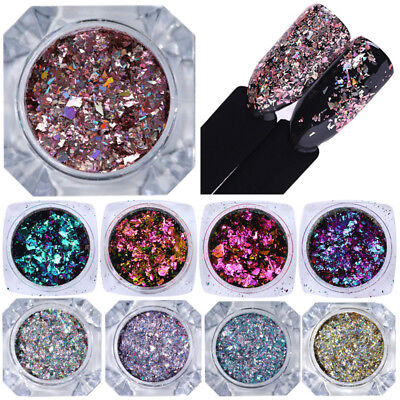 BORN PRETTY Chameleon Holographic Nail Glitter Sequins Rose Gold Flakies Powder