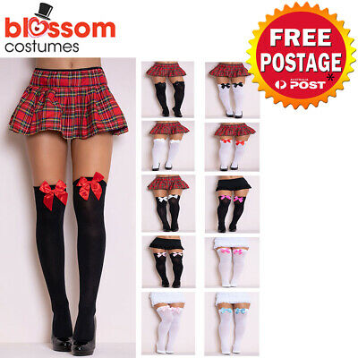 Ladies White Black Thigh High Costume Stockings with Bows Tights Oktoberfest
