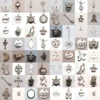 Tibet Silver Charm Spacer Findings Jewelry Choose your Pendant favorite Plated