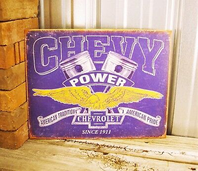 Chevrolet Chevy Power American Tradition Pride Since 1911 Metal Tin Sign Garage