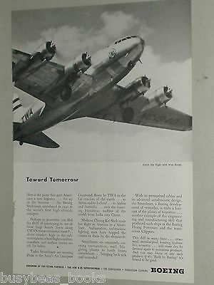 1944 Boeing ad, Trans World Airlines Stratoliner, TWA