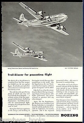 1945 BOEING advertisement, STRATOCRUISER & B-29 SUPERFORTRESS, US Air Force