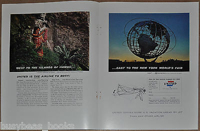 1964 UNITED AIR LINES 2-page advertisement, Hawaii, New York World's Fair