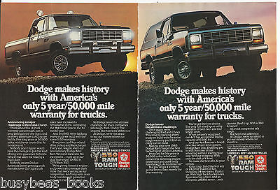 1985 DODGE RAM Pickup advertisement x2, Dodge full-size pickup & RAMCHARGER