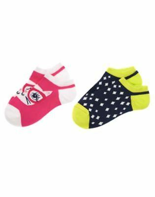 NWT Gymboree Bright Ideas 2 pk Ankle Socks Pink/Navy Sz L 8-10