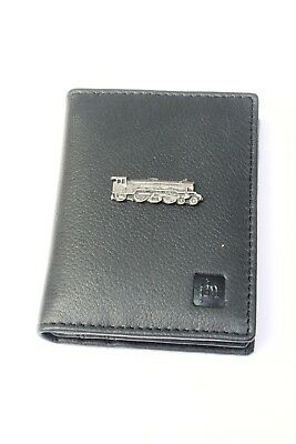 Steam Train Blue or Black Real Leather Bifold Card Holder and Wallet Gift