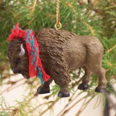 BUFFALO Ornament resin HAND PAINTED FIGURINE Christmas COLLECTIBLE ANIMAL Brown