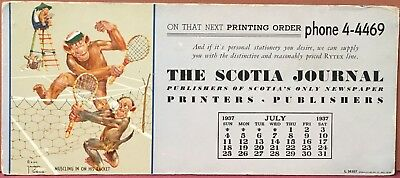 Blotter ~ Lawson Wood Monkeys Playing Tennis ~ July 1937 The Scotia Journal NY