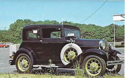 postcard 1931 Ford Model A Victoria..what's with the note in the side window
