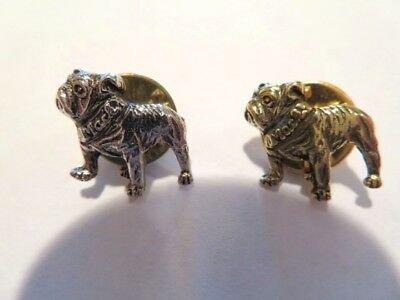 2 Vintage Authentic Mack Truck Bulldog Lapel Pins - Silver & Gold