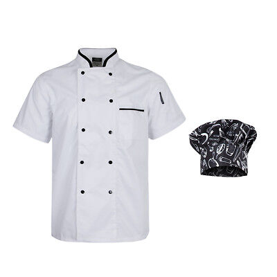 "Black 9"" Cotton Chef Tall Hat White Chef Coat Set Food Service Supplies Gift"