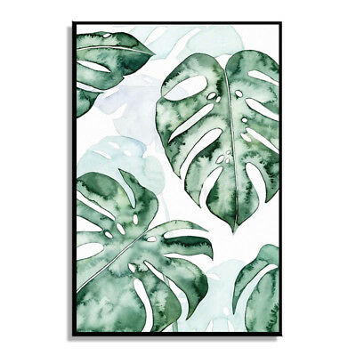 Modern Watercolor Paintings Green Plants Leaves Canvas Picture Room Home Decor