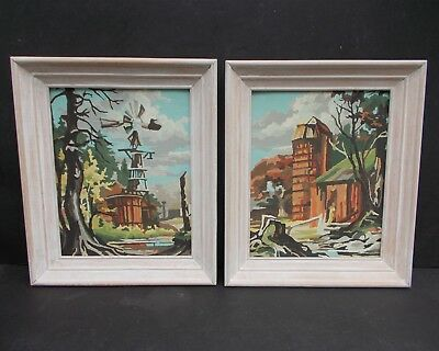 Vintage Pair Framed Paint By Number Paintings Barn with Silo and Farm Windmill
