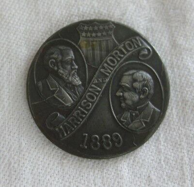 1789-1889 HARRISON/MORTON Campaign MEDAL So Called Dollar WASHINGTON President