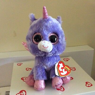 "Ty Beanie Boo ATHENA the 6"" Purple Unicorn Claire's Exclusive MWMTS"
