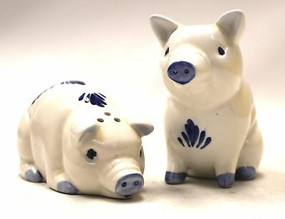 Hand Painted DELFT BLUE Holland Pottery Pig Salt & Pepper Pots/ Shakers  - N03