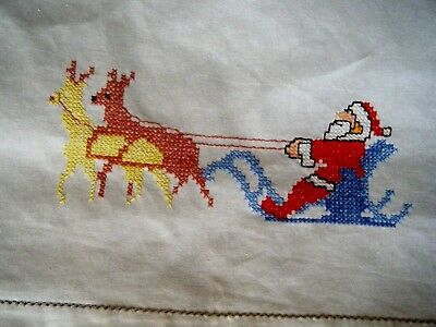 Old Vtg Christmas Tablecloth linen hand embroidered design Santa CLaus w deers
