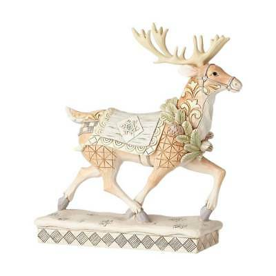 Jim Shore 2018 WHITE WOODLAND REINDEER Figure ADVENTURE AWAITS 6001411 Walk/Run